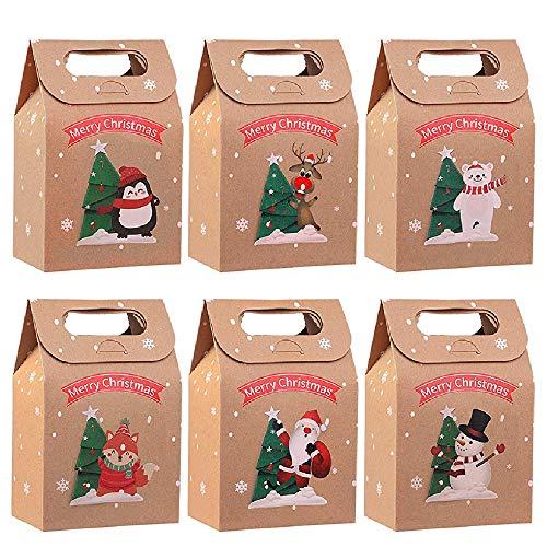 LUOWAN 24 Pcs Scatole Regalo Natalizie Kraft Scatole Natalizie Biscotti Pacco Regalo per Natale, Regali fai da te, per Feste, Regali di Natale