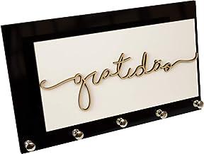 Porta Chaves e Cartas Gratidão Branco e Preto