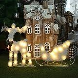 Navidad LED Resplandecer Reno con Trineo Luminoso Flocado Blanco Cálido Metal Planchar Marco Plegable Light Decoration para Interiores y Exteriores, Blanco