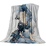 Home Decor Fleece Flanel Throw Blanket Marble Gold Blue Grey, Warm Soft Lightweight Blanket for Bed Couch All Season Accent Throw Machine Washable