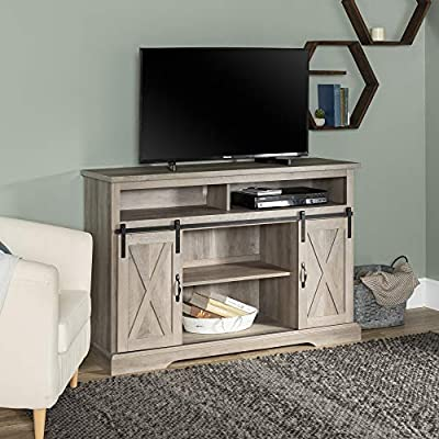 """Walker Edison Furniture Company Modern Farmhouse Sliding Barndoor Wood Stand for TV's up to 65"""" Flat Screen Cabinet Door Living Room Storage Entertainment Center"""
