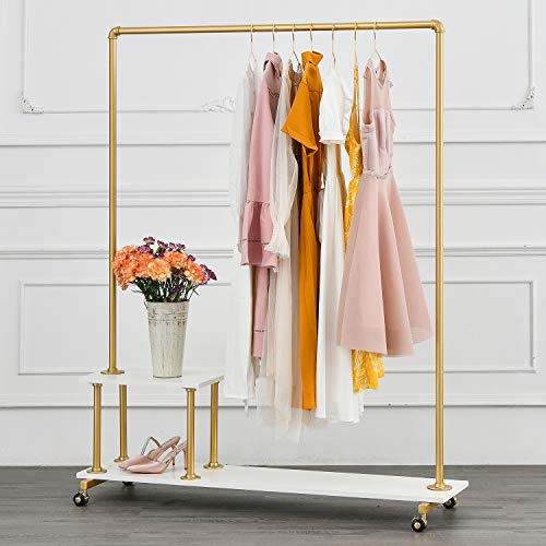 BOSURU Metal Rolling Clothing Rack on Wheels Industrial Pipe...