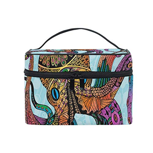 Vintage Octopus Cosmetic Bag Toiletry Travel Makeup Case Handle Pouch Multi-Function Organizer for Women-0V