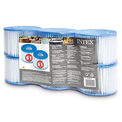 Intex 29011E Type S1 PureSpa Easy Set Pool Spa Hot Tub Filter Replacement Cartridges (6 Filters), Blue and White