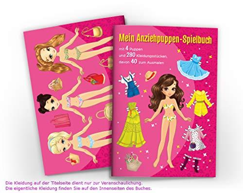 Junaversum Anziehpuppen zum Ausschneiden Anziehpuppe aus Papier Papierpuppen-Spielbuch (4 Puppen) mit Kleidungsstücken zum Anziehen