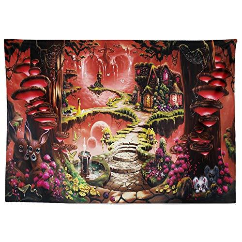 GenericBrands Tapiz de Bosque de fantasía Árbol mágico Fondo místico Paño Colgante de Pared Decoración del hogar Telón de Fondo Estera de Picnic de Yoga