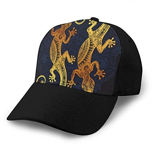 ZORIN Baseballkappe Gold Gecko Lizard Mandala 3D verstellbar Snapback Outdoor Trucker Hüte