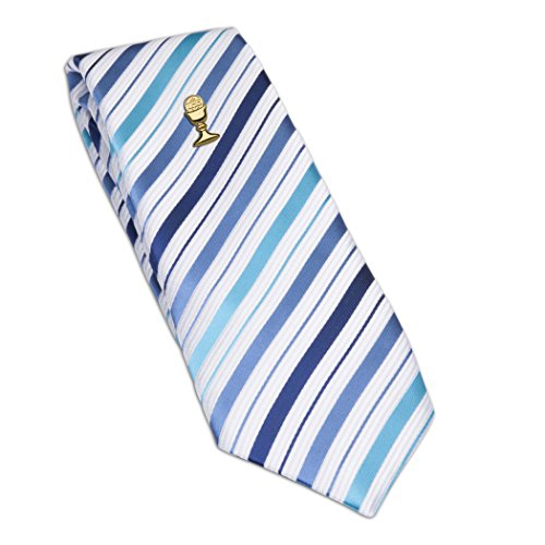 Boys First Communion Tie Blue Striped and Gold-Tone Chalice Tie Pin, 45-inch