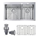 SINOGY 33'x22' Inch 16 Gauge 60/40 Double Bowls Topmount Stainless Steel Drop-In Kitchen Sink W/Free Bottom Grid Sink Strainer