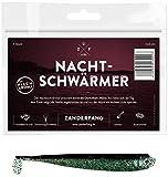 Zanderfang 4 Gummifische zum Zanderangeln mit Gummifisch Nachtschwärmer | schwarz | 12,5 cm