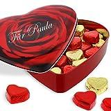 Sweetheart-Pralinenherz mit Ihrer individuellen Namens-Gravur - das genußvolle Schokoladen-Geschenk zum Muttertag - gefüllt mit Nougat-Pralinen-Herzen 320g