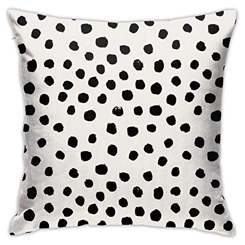 Traveler Shop Black and White Spots Dots Dalmation Animal Spots Pillow Covers Cute Polyester Cushion Cover Cases Pillowcases Sofa Home Decor,18x18in