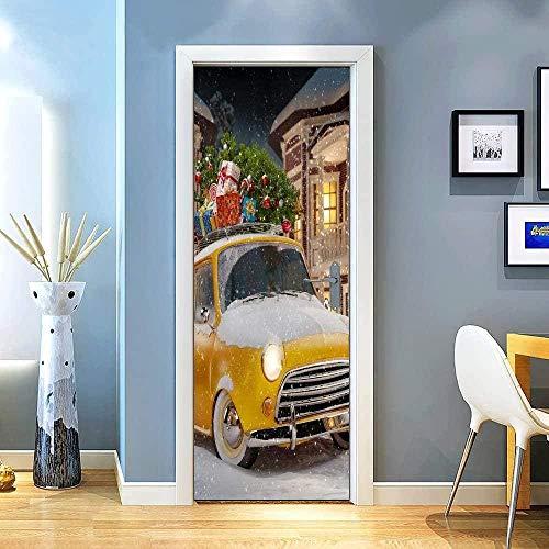 YANGCH Pegatinas Puertas Adhesivo 83x204cm Amarillo coche navidad regalo Interiores Sala de Estar 3D Cuarto de baño Impermeable Actualización Profesional de Vinilo extraíble 3D Etiqueta De Puerta Auto