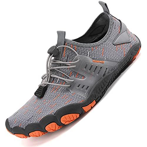 Sixspace Unisex Badeschuhe Barfuß-Softschuhe mit Weich Dicke Sohle Atmungsaktive Tragbare Laufschuhe Trailrunning-Schuhe Fitnessschuhe Sportschuhe grau(39 EU)