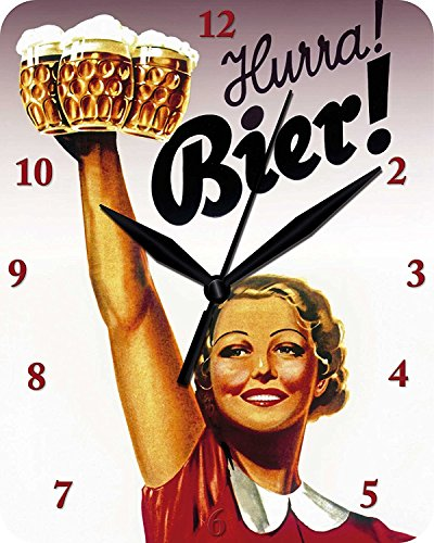 Wandklok Hurra Bier - klok Clock WC 91