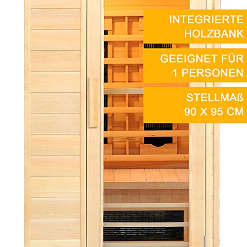 Infrarotkabine Trondheim Keramikstrahler & Hemlockholz | Infrarotsauna für 1 Person | ArtSauna - 3