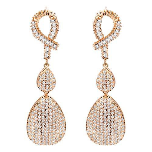 Camisin Wedding Dinner Dubai Jewelry Cubic Zirconia Long Ladies Long Earrings Water Drop Earrings Earrings