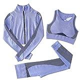 Jamron Mujer Conjunto de Ropa de Yoga Chaqueta+Sujetador+Polainas 3 Piezas Chandal Gimnasio Fitness Ropa Deportiva Azul S