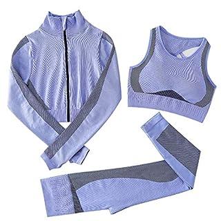 【Set 3 Pezzi】--Long-sleeved Crop Jacket+Vest Bra+High Waist Leggings,high elasticity makes comfortable stretch-fit, can highlight your body figure to show your beautiful curve. 【Vestibilità a Compressione e Fri per il Pollice Fit】-- La vestibilità a ...