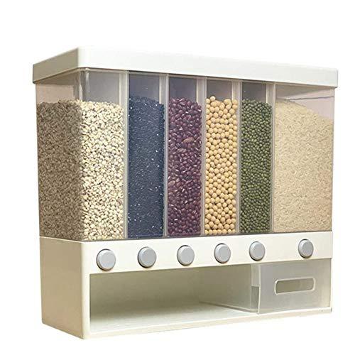 Dispensador de cereales, montado en la pared, for los alimentos secos, cubo de arroz, múltiples compartimentos, dosificación automática, almacenamiento, contenedores de granos Sealed ( Color : White )