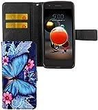 König Design Handyhülle Kompatibel mit LG K8 (2018) Handytasche Schutzhülle Tasche Flip Hülle mit Kreditkartenfächern - Schmetterling Blau