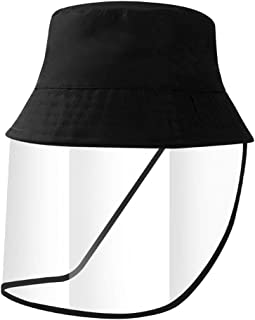 Yarnow Sun Hats - Face Shield, Transparent Anti-Saliva Protective Mask for Adults (Black)