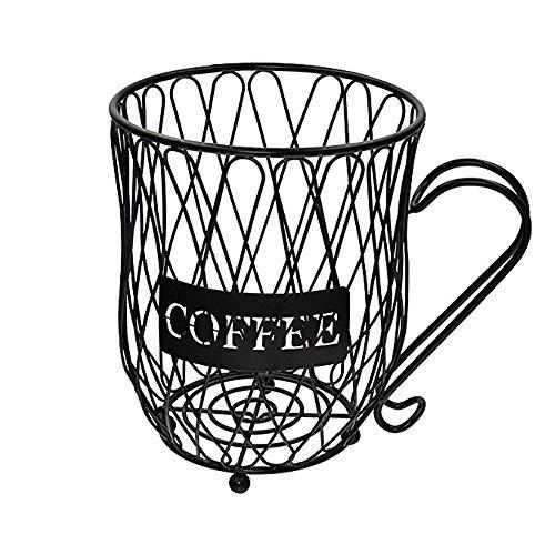 XQK Cestello Porta caffè, Porta Capsule in Ferro Battuto Semplice Porta Capsule caffè Nero Portabottiglie A Forma di Tazza Organizzazione Cucina di Grande capacità