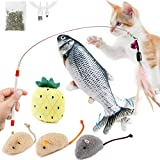 Floppy Fish Cat Toy Set: Electric Realistic Plush Simulation Fish | Interactive Moving Kicker Toy with Cat Toy Mouse | Cat Wand Toy | Squeaky Cat Chew Toy for Indoor Cats Kitten Kitty Puppy