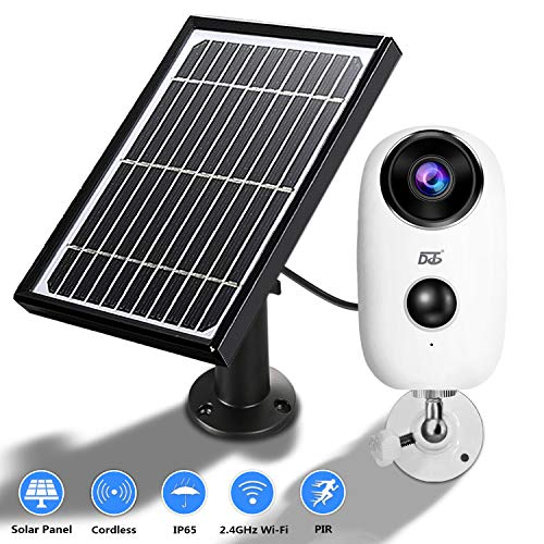 Solar Panel Wireless Camera,1080 HD WiFi Outdoor Security Camera System,Solar Powered Rechargeable Batteries,2-Way Audio,IP65 Waterproof,Night Vision, App Remote, Long Time PIR Motion Record