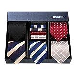 Hisdern Lot 5 Stuck Klassisch Formal Elegant Herren Seidenkrawatte Set-Krawatte & Einstecktuch-mehrere Sets ¡