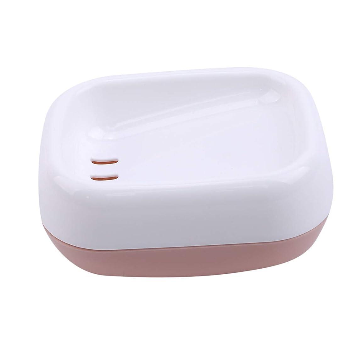 人道的タイトル規定ZALINGソープディッシュボックス浴室プラスチック二重層衛生的なシンプル排水コンテナソープディッシュピンク