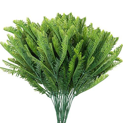 BELLE VOUS Planta Artificial Helecho Boston de Plástico (Pack de 6) Plantas Colgantes...
