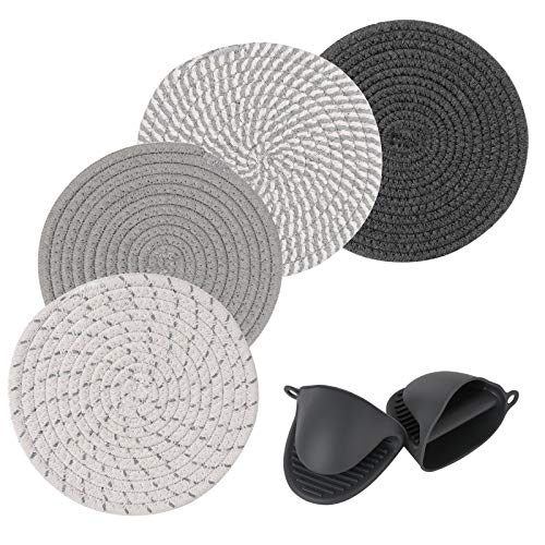 Potholders Set Trivets Set for Hot Pots and Pans - 100% Pure Cotton Thread Weave Hot Pot Holders and Silicone Oven Mitts Set - Stylish Coasters, Hot Pads, Hot Mat, Kitchen Trivet, Countertop, 7.3 inch
