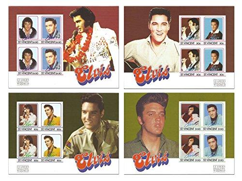 La collezione di francobolli di Elvis Presley finale con 4 Foglietti bollo di menta che caratterizzano il Re del Rock and Roll