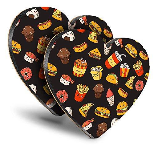 Destination Vinyl ltd Great Posavasos (juego de 2) corazón – Papas con patrón de comida chatarra Tacos Sushi Bebida Brillante Posavasos/Protección de mesa para cualquier tipo de mesa #45451
