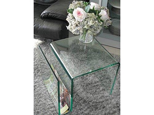 Beistelltisch mit Zeitungsständer Glas 48x42x38 Sale