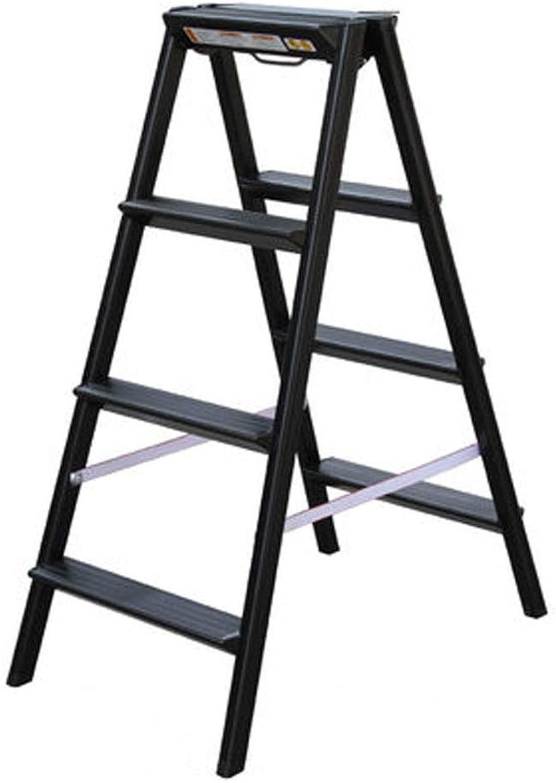 AINIYF Folding Ladder Aluminum Alloy Fold Household Small Ladder Thicken Multifunction Herringbone Step Stool Storage Stool Multiple Colour (color   Black, Size   XL)