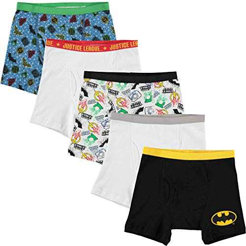 DC Comics Handcraft Little Boys' Justice League 5pk Boxer Briefs, Assorted, 4
