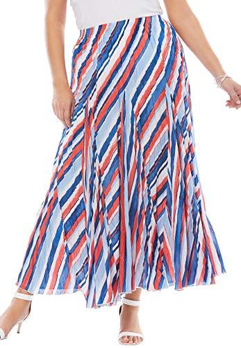Jessica London Women's Plus Size Cotton Crinkled Maxi Skirt - 18, Watercolor Stripe