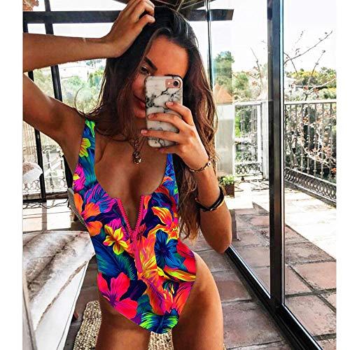 Sexy Mujer Verano Bañador Retro Cintura Alta,Traje de baño de una Pieza con Estampado Flaco y Cremallera,Bikini de Playa de una pieza-07_Large,Impresión Inferior Traje de baño Bikini
