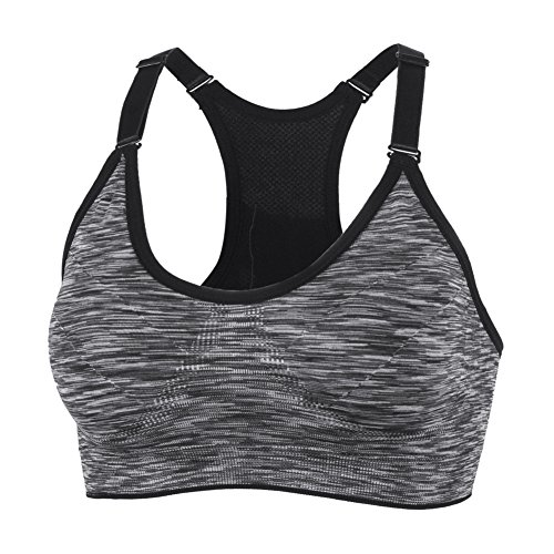 YEYELE Women 1or 3 or 5 Pack Medium Support and Removable Pad Tank Top Racerback Sports Bra Gray