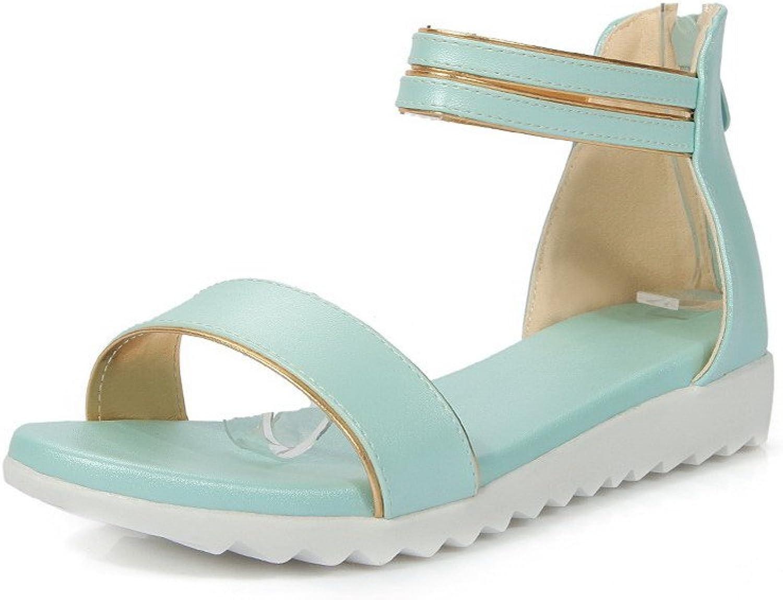 WeiPoot Women's Soft Leather Zipper Open Toe Low-Heels Solid Sandals