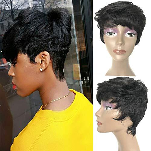Short Pixie Cut Wigs For Black Women Udu None Lace Front Wigs 80g Short Wavy Wig