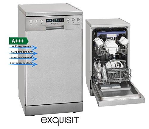 Exquisit GSP 9510.1 Inox Stand-Geschirrspüler - 45 cm, Edelstahl-Optik, A+++