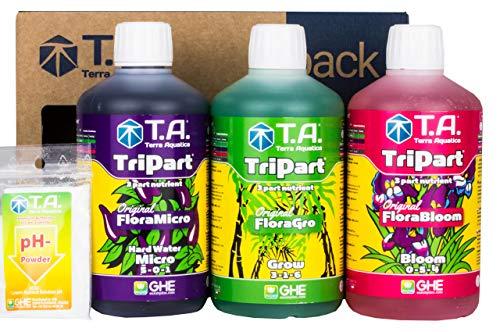 Weedness GHE Dünger Tripak Flora Starter Set Advanced 5-teilig – Grow Tomaten Naturdünger NPK Orchideen Palmen Bio Gemüse Bonsai Organischer