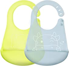 Baby Waterproof Bibs Silicone Bib for Babies and Toddlers with Various Styles-Blue&Green