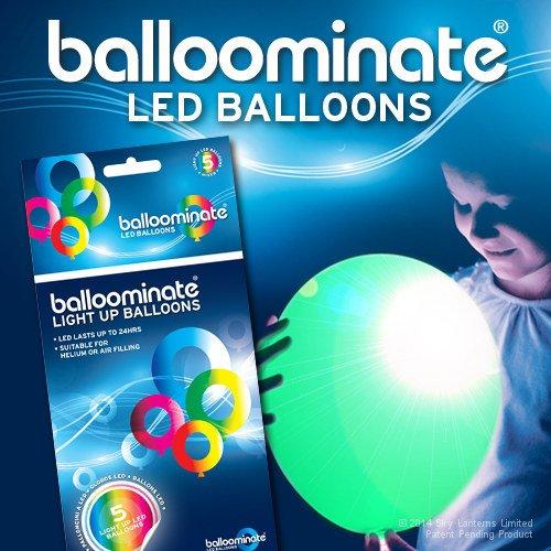 5x Luftballons Leuchtende BALLOOMINATE Green–LED Licht Grün feste