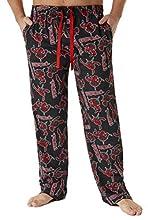 Deadpool Pantalon Pijama Hombre, Pijama Hombre Invierno 100% Algodon, Pantalones de Pijamas Hombre, Regalos Originales para Hombre y Adolescente Talla S-3XL (Negro, L)