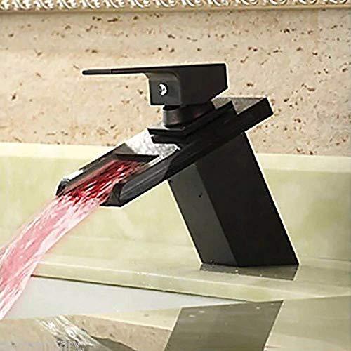 WEI-LUONG Baño con control de temperatura que cambia de color con la luz de cristal de cristal de la cascada LED de tres colores de baño grifo Cuenca del agua caliente y fría del dragón Hermosa prácti