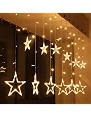 SHOPPOSTREET 5-Pointed Stars Curtain Lights Indoor Outdoor Decoration Christmas Light Rope for Party, Birthday, Diwali, Christmas, Navratri